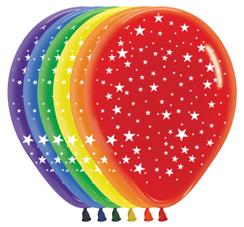Ballons R12 mit Aufdruck Sterne rundherum kristall gemischte Farben