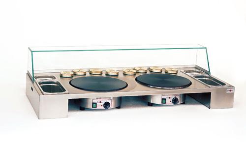 Arbeitsstation für 2 Einzelcrepeplatten (40cm) mit Scheibe