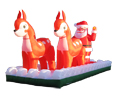 Weihnachtsmann mit Schlitten und Rentieren Dekoration