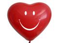 Herzballons 6  Fashion Solid rot mit Aufdruck weißer Smiley