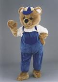 Kostüm Bär in Latzhose blau und weiß