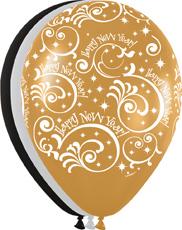 Ballons R-12 mit Aufdruck: Happy New Year / Farbe: Gold, Schwarz, Silber
